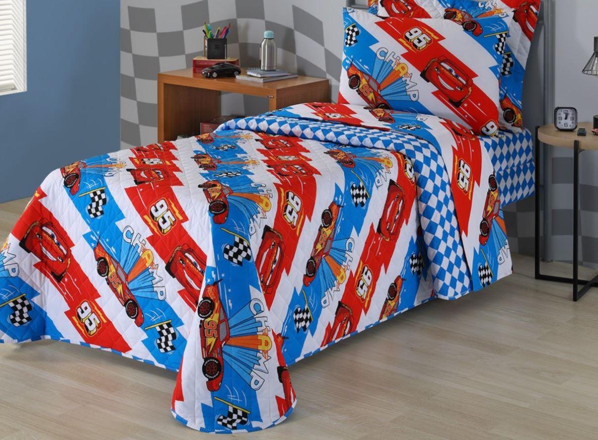 Cobreleito Solteiro Infantil 2 Pçs Disney Carros Andreza