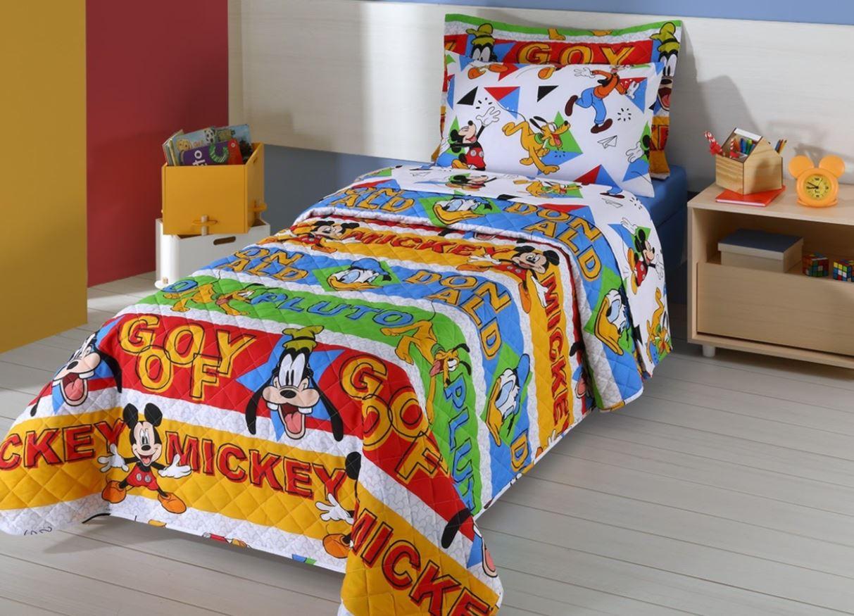 Cobreleito Solteiro Infantil 2 Pçs Disney Mickey Amigos Andreza
