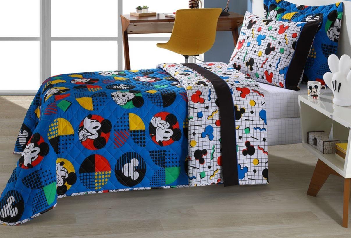Cobreleito Solteiro Infantil 2 Pçs Disney Mickey Pop Andreza