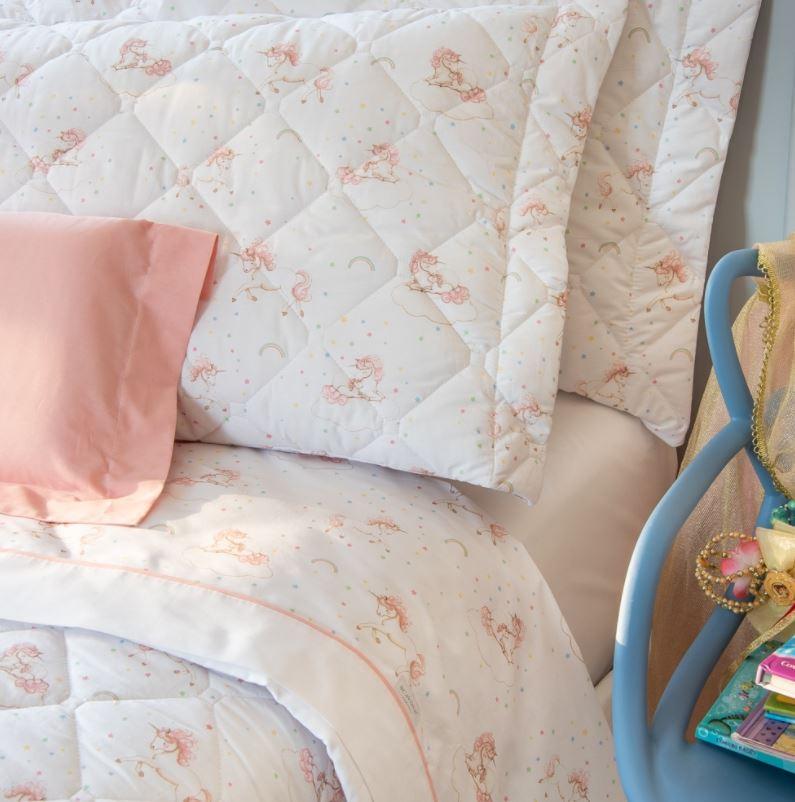 Colcha com Porta Travesseiro Solteiro Infantil Unicornio 200 Fios Scavone
