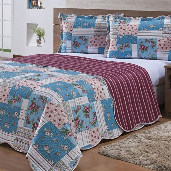 Colcha Queen 3 Pçs Patchwork Ultrassonica Ravello Des 03 Niazitex