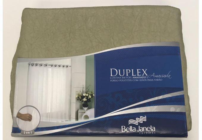 Cortina Duplex 2,00 x 2,30 Amassada Cromo Bella Janela