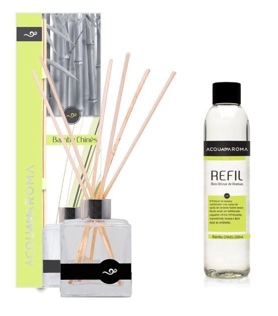 Difusor de Aromas 100ml e Refil 200ml Acqua Aroma Bambu Chinês
