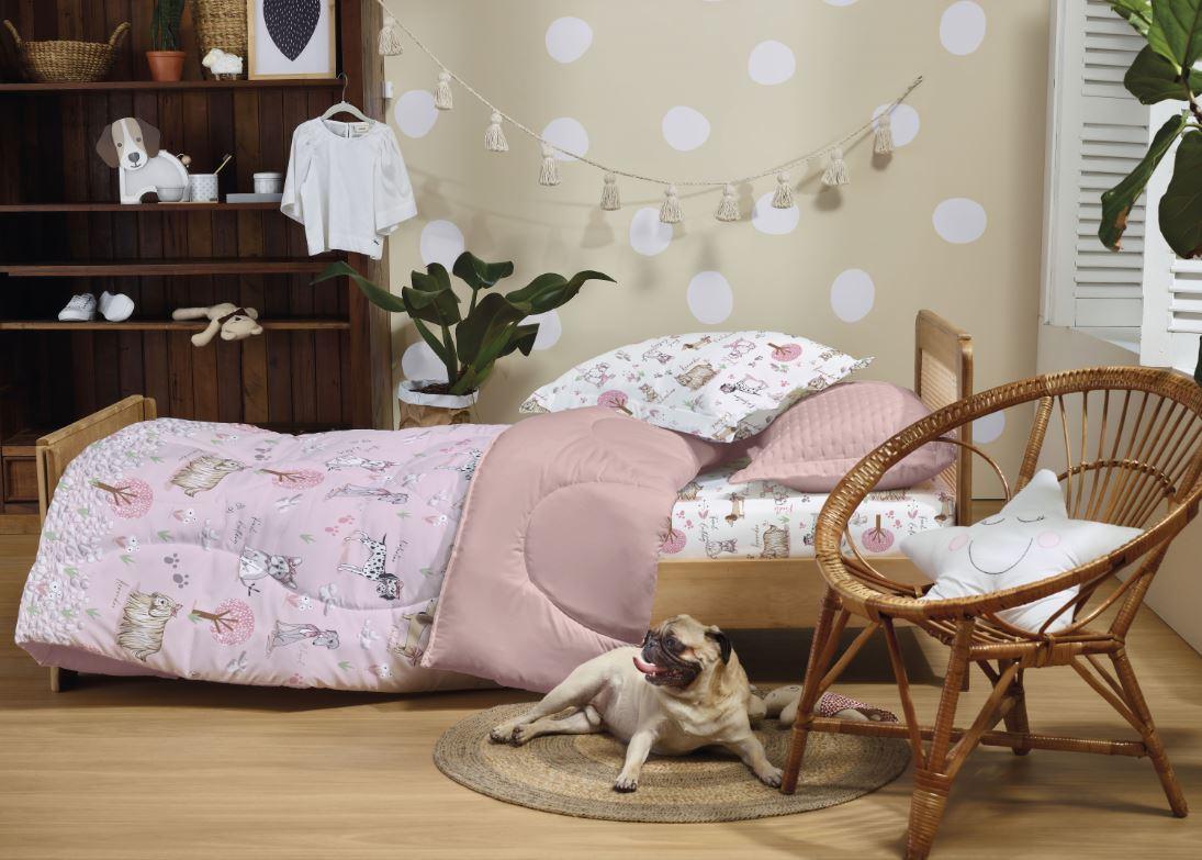 Edredom Infantil Mundo Kids Toque Acetinado Puppy Love Altenburg