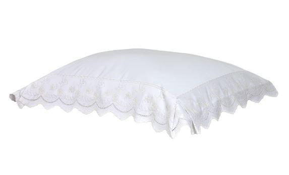 Fronha Vigo 50 cm x 70 cm Branco 400 fios Artelassê