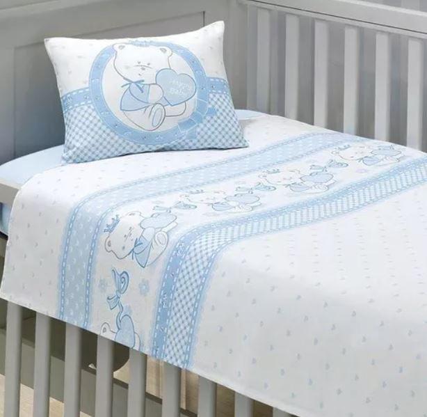 Jogo de Berço Happy Baby Azul 3 Peças Dohler
