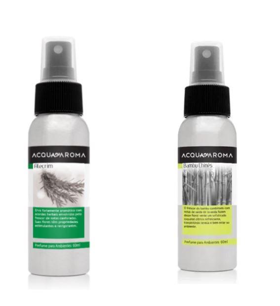 Kit 2 Perfumes Ambiente Acqua Aroma Bambu Chinês e Alecrim 60 ml
