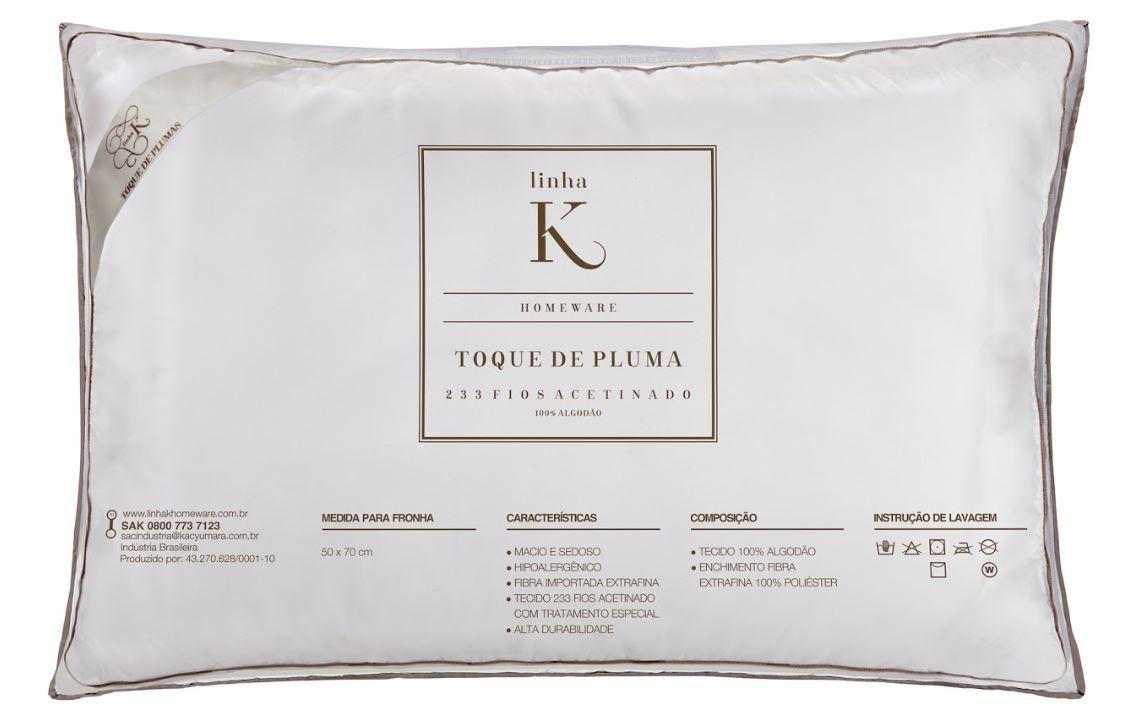 Kit 2 Travesseiros Casa K Toque de Pluma 233 Fios Kacyumara
