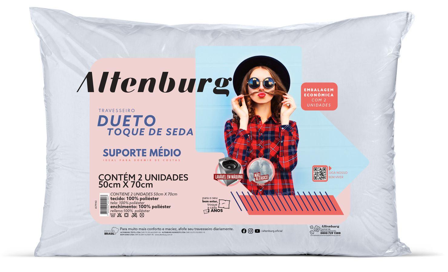 Kit 2 Travesseiros Dueto Toque de Seda 50 x 70 Altenburg