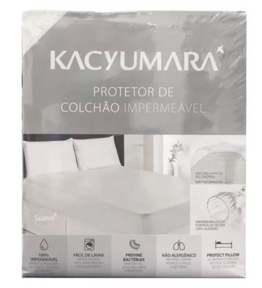 Protetor de Colchão Algodão Impermeável Solteiro Kacyumara