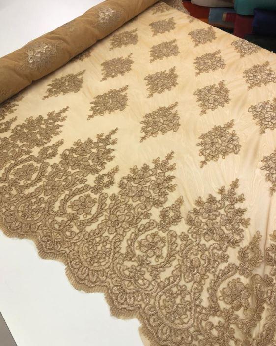 Tecido Renda Tule Bordado 1m X 1,30m Cores Variadas