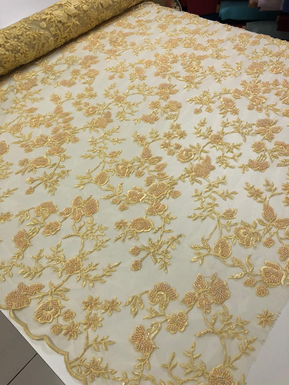 Tecido Renda Tule Bordado Floral c/ Pedraria 1 x1,30m Cores Variadas