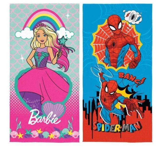 Toalha de Banho Aveludada Barbie e Spider Man Lepper