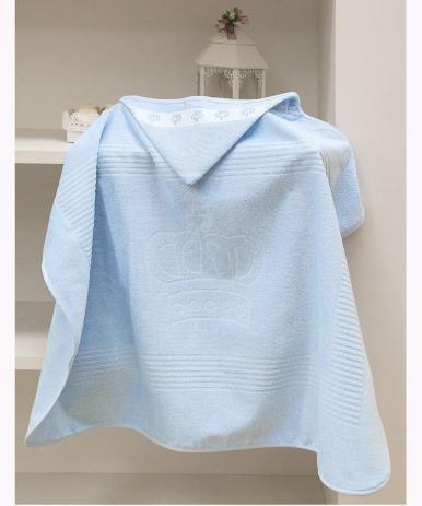 Toalha de Banho com capuz p/ Bordar Baby Classic Azul Dohler