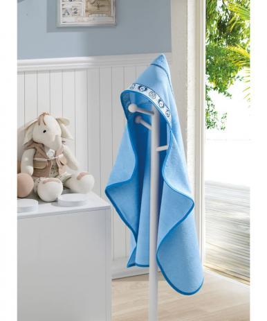 Toalha de Banho com capuz p/ Bordar Zoo Azul Dohler