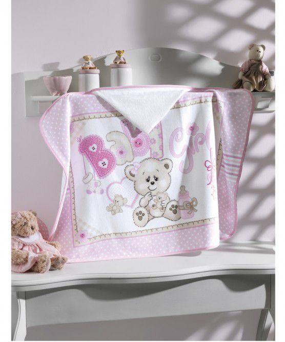 Toalha de Banho com capuz Velour Baby Girl Dohler