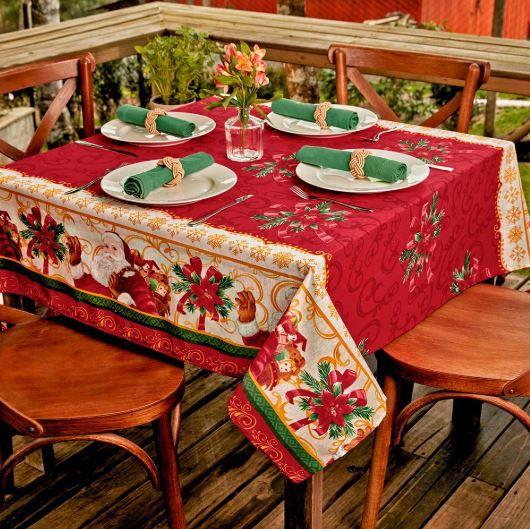 Toalha de Mesa 6 Lugares 1,40 x 2,10 Flor Natal Lepper