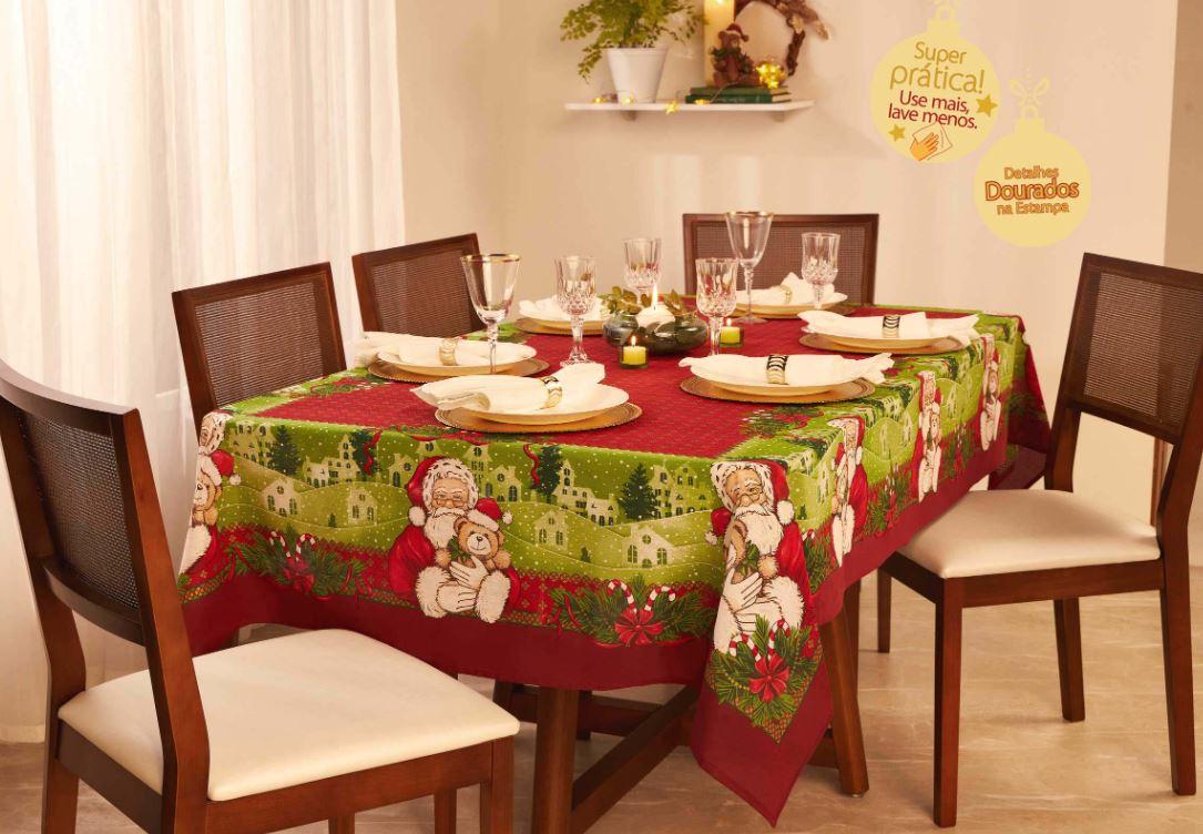 Toalha de Mesa Quadrada 4 Lugares Encanto Natal Lepper