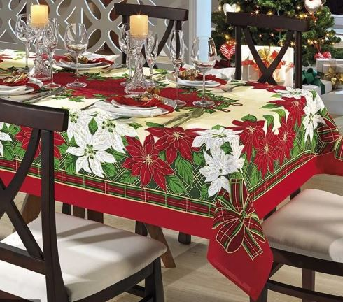 Toalha de Mesa Quadrada 4 Lugares Genebra Natal 74 Dohler