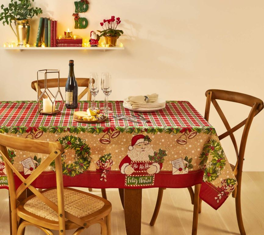 Toalha de Mesa Quadrada 4 Lugares Noel Natal Lepper