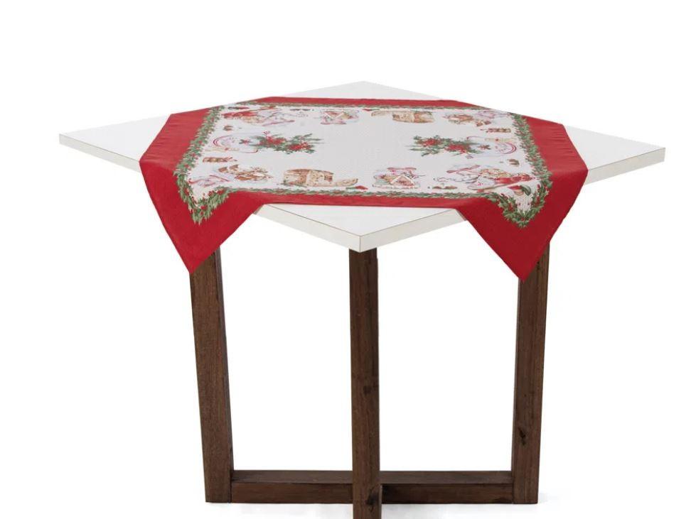 Toalha de Mesa Quadrada 78 x 78 Segredos de Receita Natal Karsten