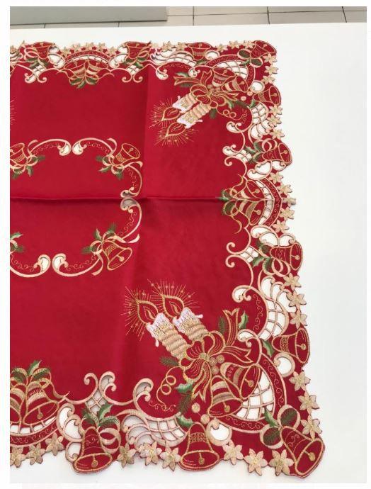 Toalha de Mesa Quadrada 85 x 85 Natal Vermelha Bordada Multi Trade