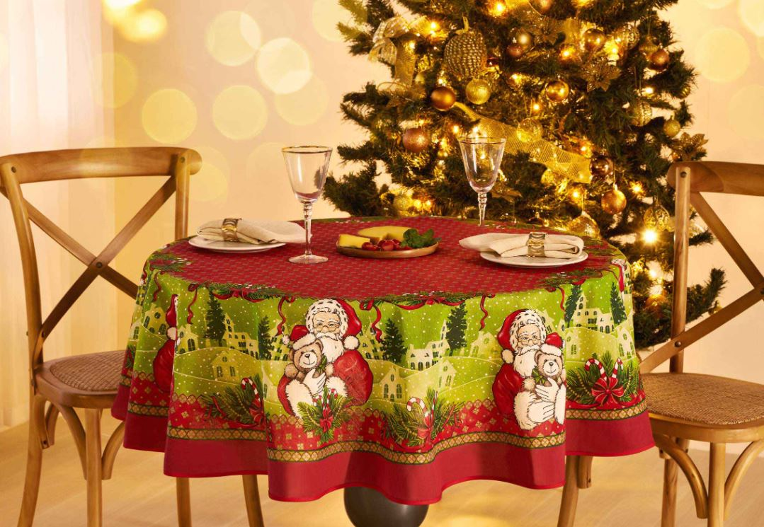 Toalha de Mesa Redonda 4 Lugares Encanto Natal Lepper