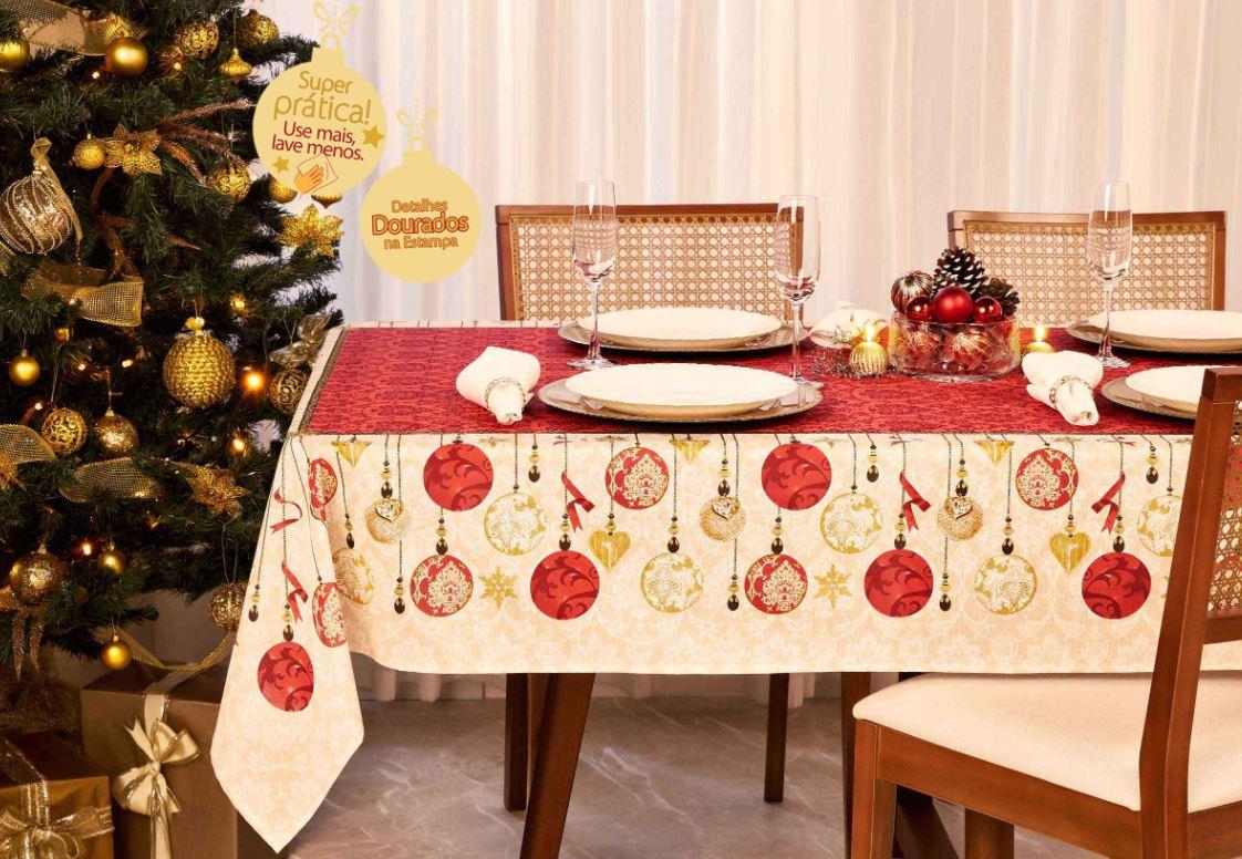 Toalha de Mesa Retangular 8 Lugares Celebration Natal Lepper