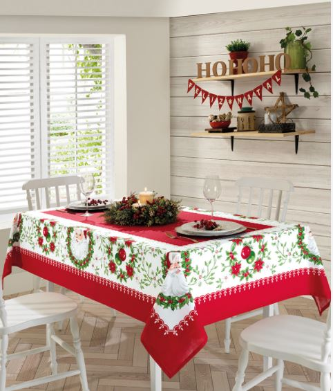 Toalha de Mesa Retangular 8 Lugares Genebra Natal 91 Dohler