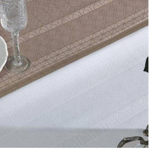 Toalha de Mesa Retangular Sempre Limpa Adamascada Venturini Branca Karsten