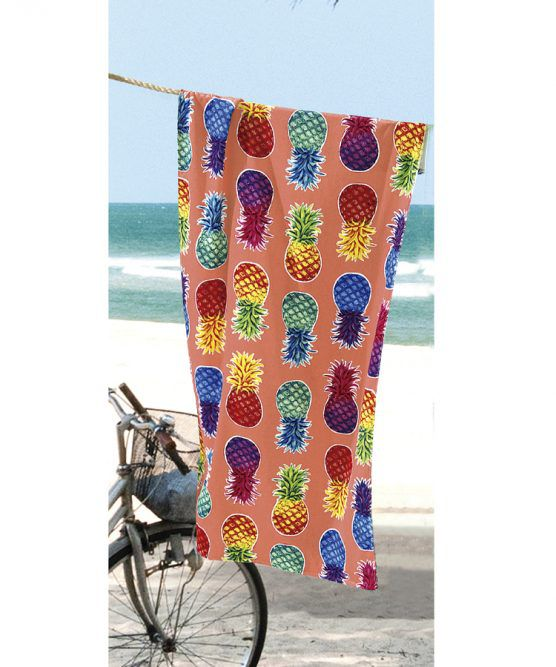 Toalha de Praia Velour Colorful Pineapples Dohler