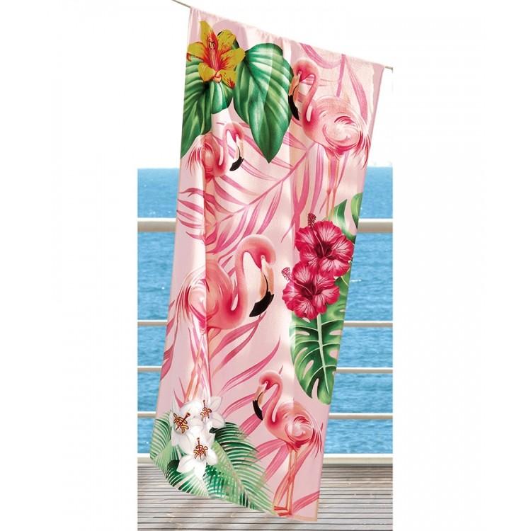 Toalha de Praia Velour Flamingos 02 Dohler