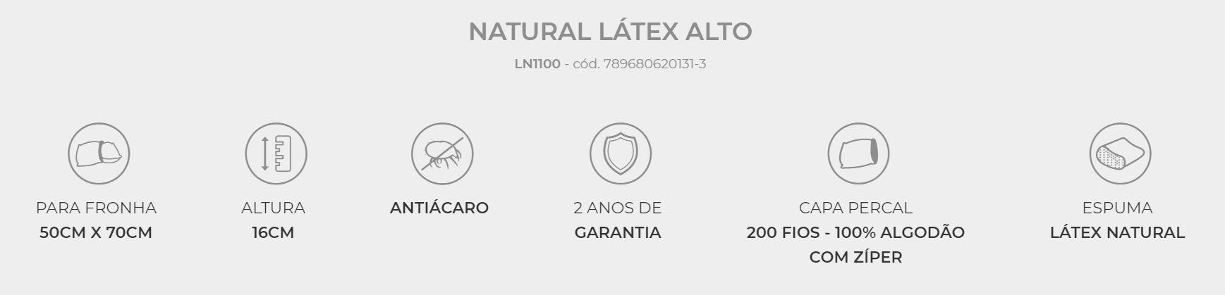 Travesseiro Natural Latex Alto Duoflex