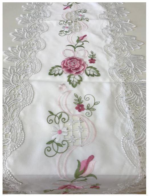 Trilho de Mesa 40 x 2,20 Branco Flor Multi Trade