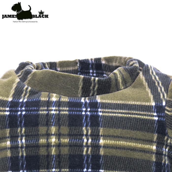 Camiseta Plush Xadrez Escocês Verde e Preto Forrada Gola Careca