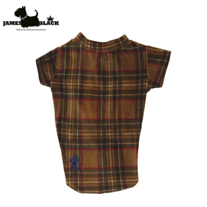 Camiseta plush marrom xadrez escocês verde gola careca s/ forro