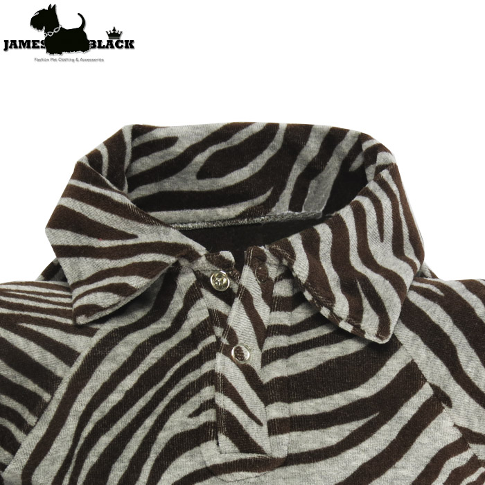 Camisa Pólo Pet Plush Zebra Cinza e Marrom Forrada em Matelasse