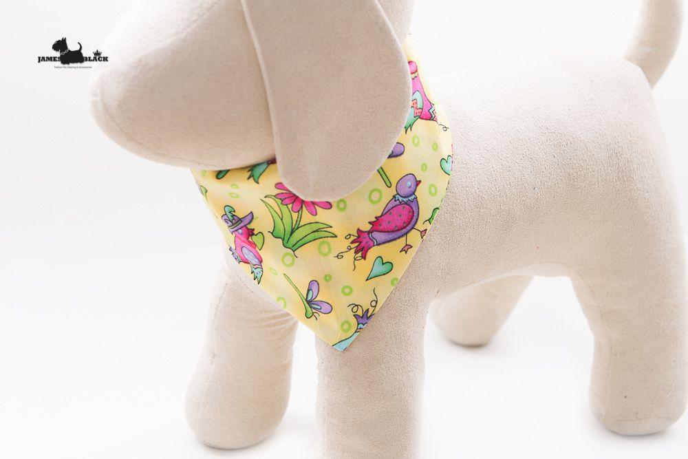 Bandana Laranjinha dupla face com passarinhos coloridos e divertidos de algodão