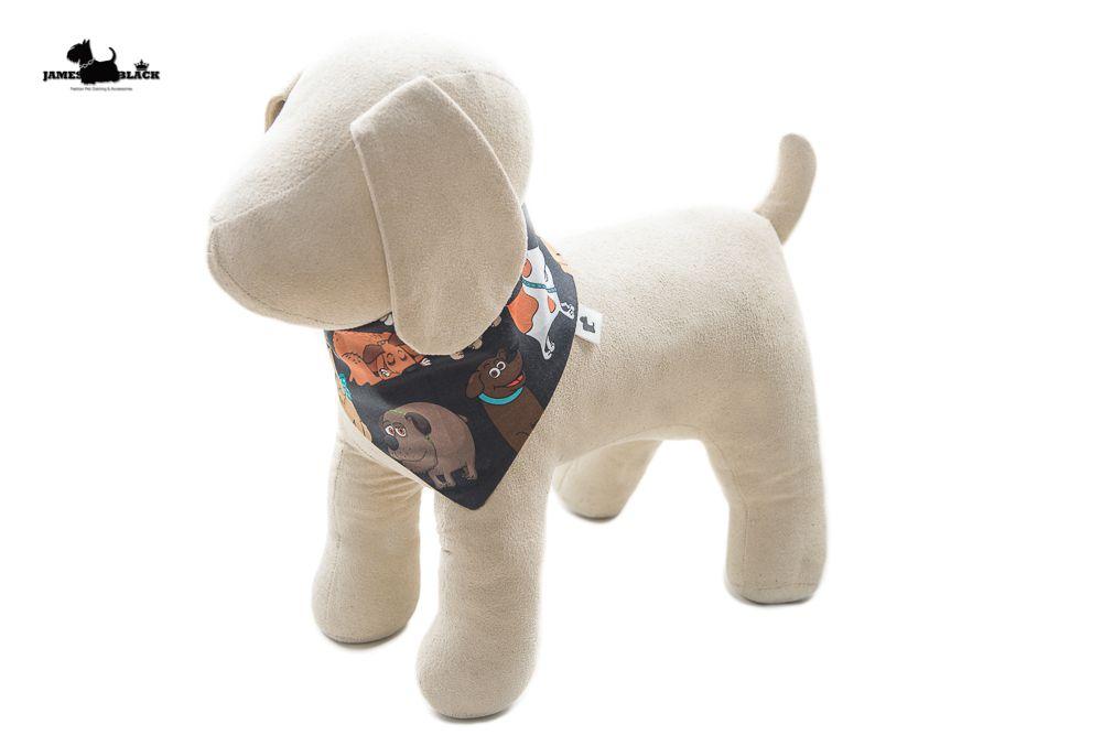 Bandana Pet marrom com Dogs coloridos muito fofinhos e lado verde com bolinhas brancas