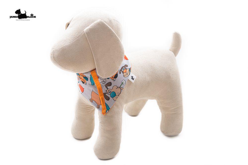 Bandana Pet Dupla Face desenho dogs de um lado e do outro lado laranja com bolinhas