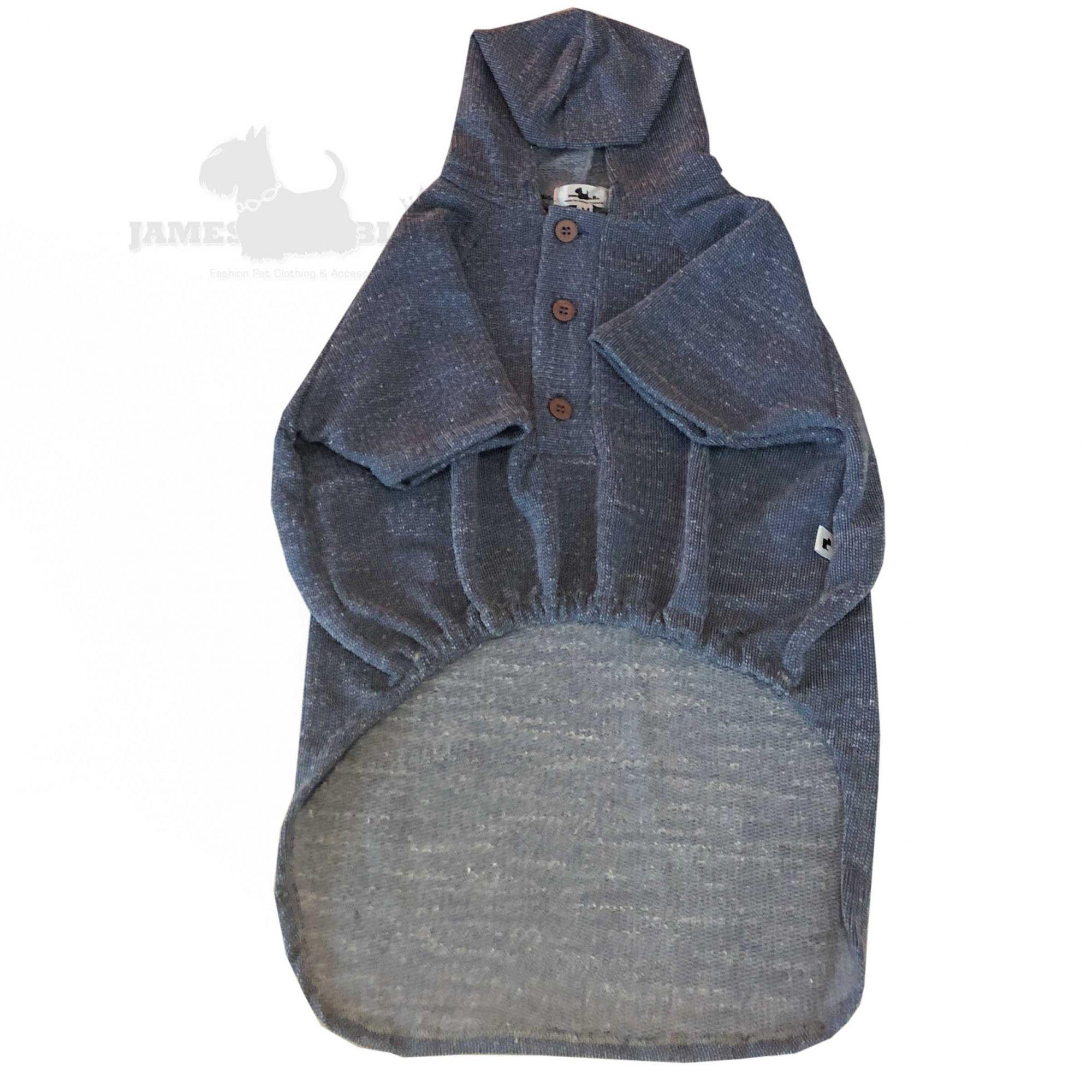 Blusa azul com capuz e cordão