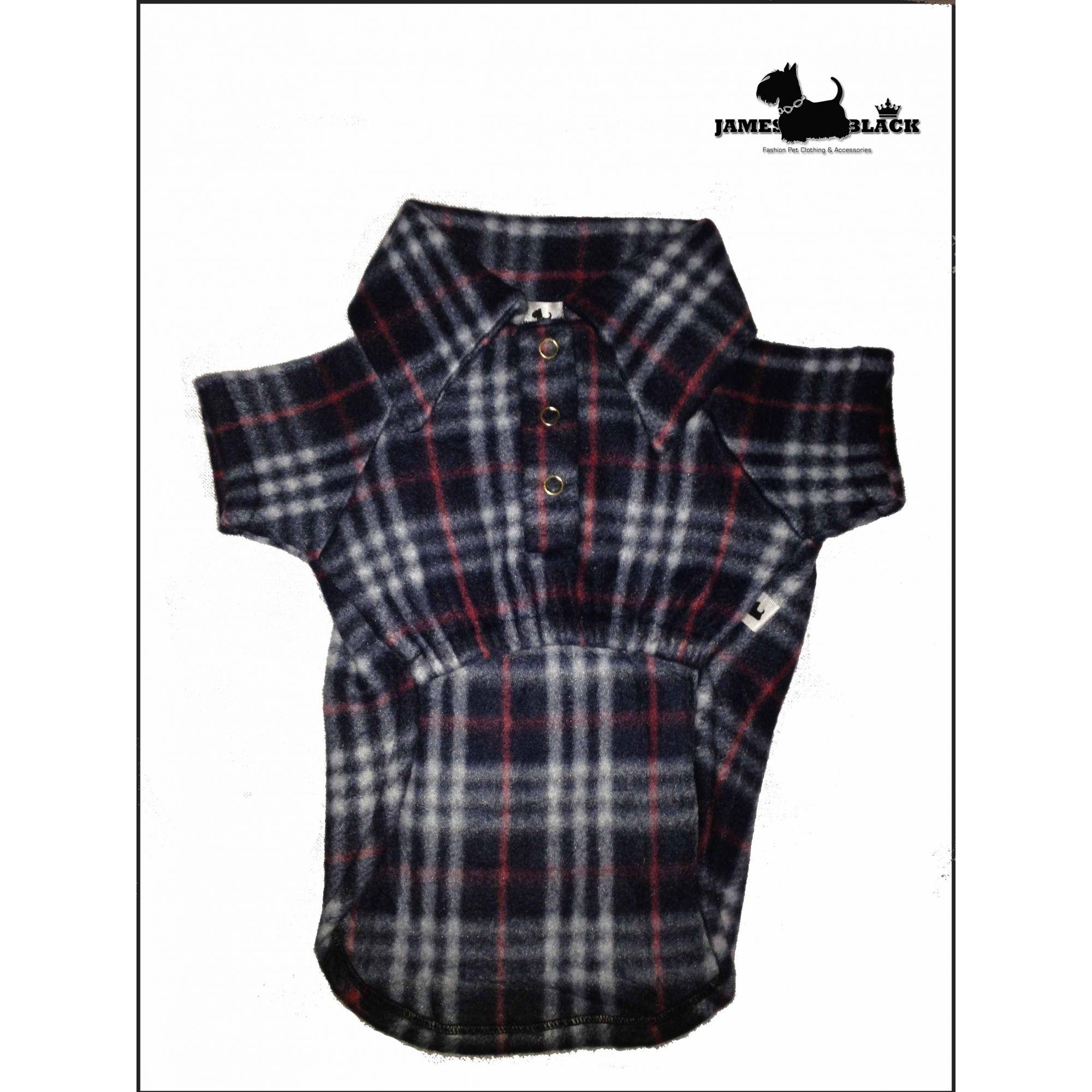 Camisa Pet Soft Xadrez preto com vermelho com botões de pressão