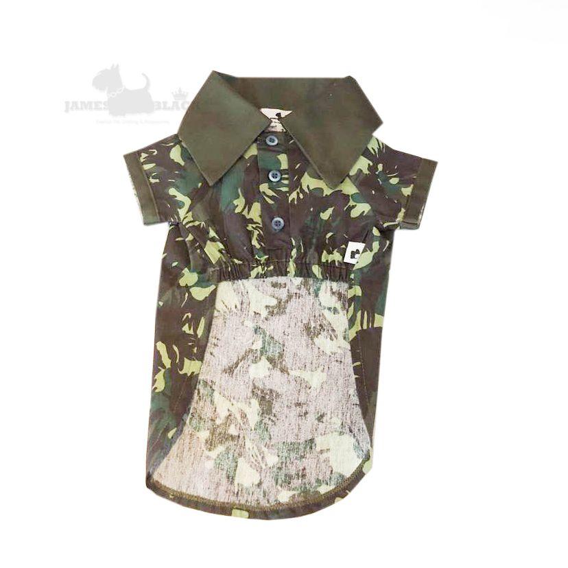 9f59fd473 Polo Pet Camuflada com gola Verde - JAMES BLACK roupas e acessórios para pet  ...