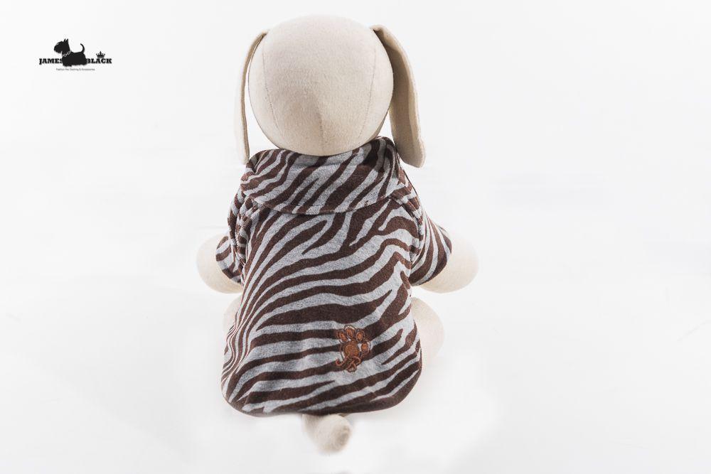 Polo Pet Plush Zebra Cinza e Marrom Forrada em Matelasse dupla face