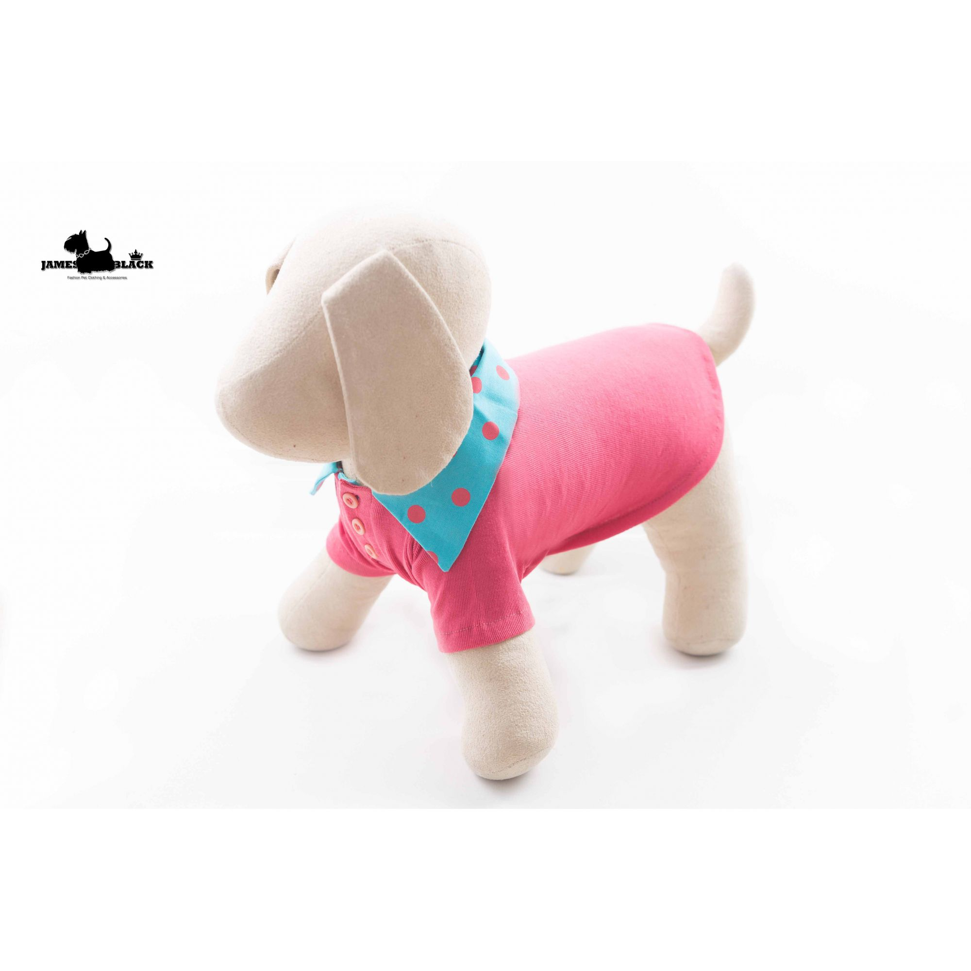 Camisa Polo Pet Rosa com Gola Azul de Bolinhas