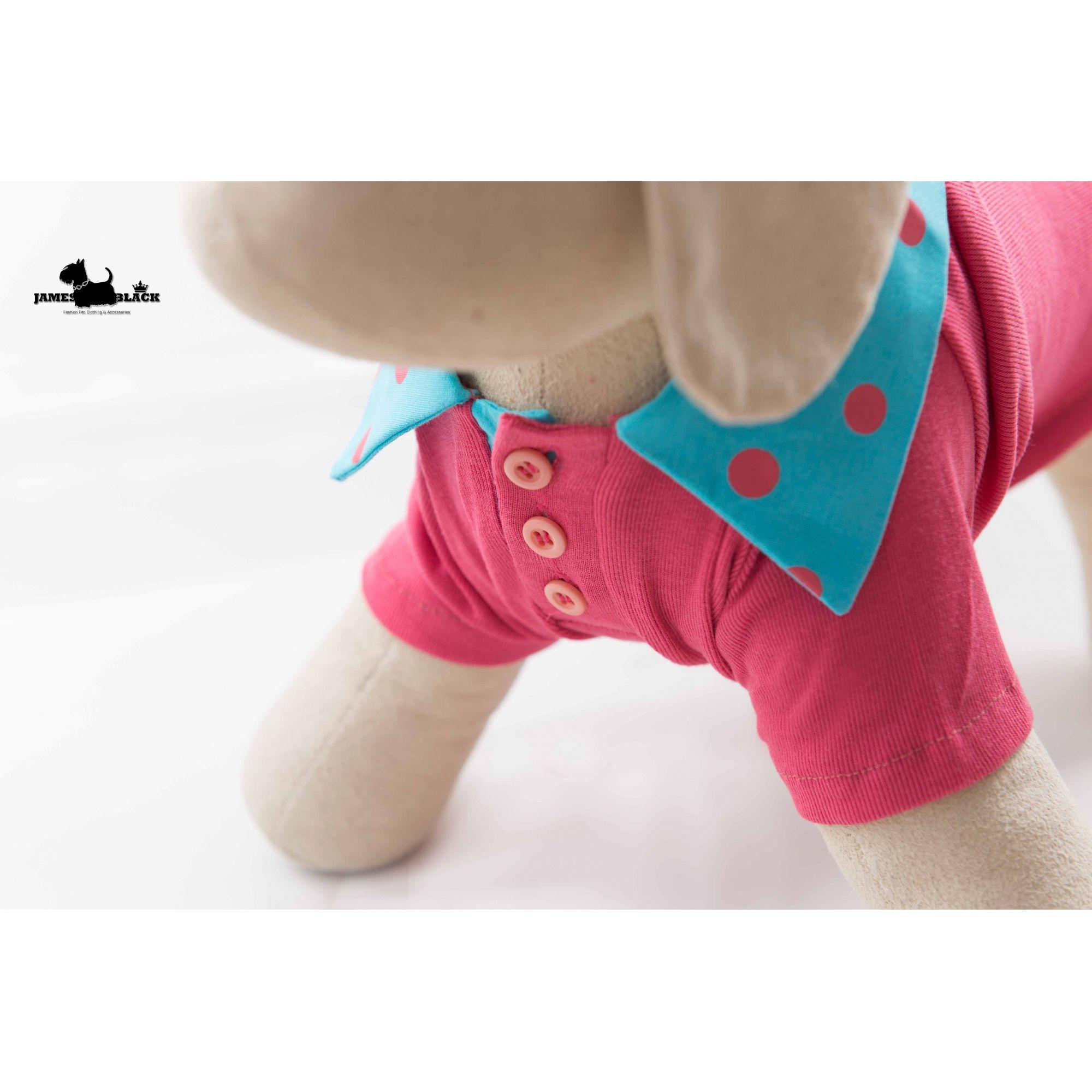Polo Pet Rosa com Gola Azul de Bolinhas