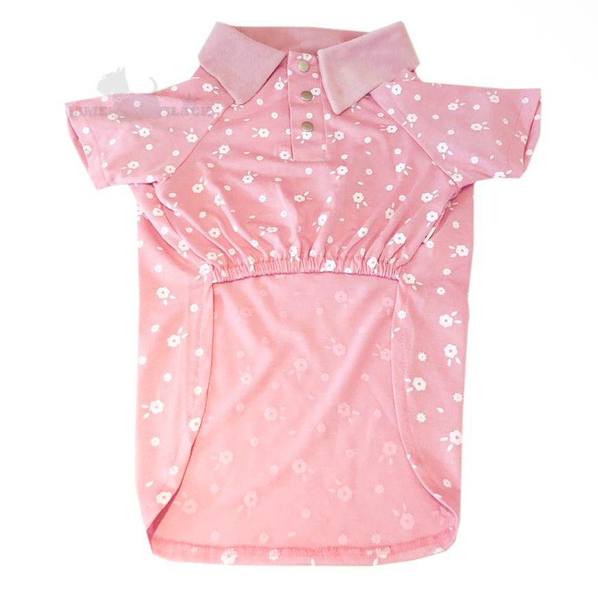 Camisa Polo Pet Rosa meia malha e Gola Veludo TAM G