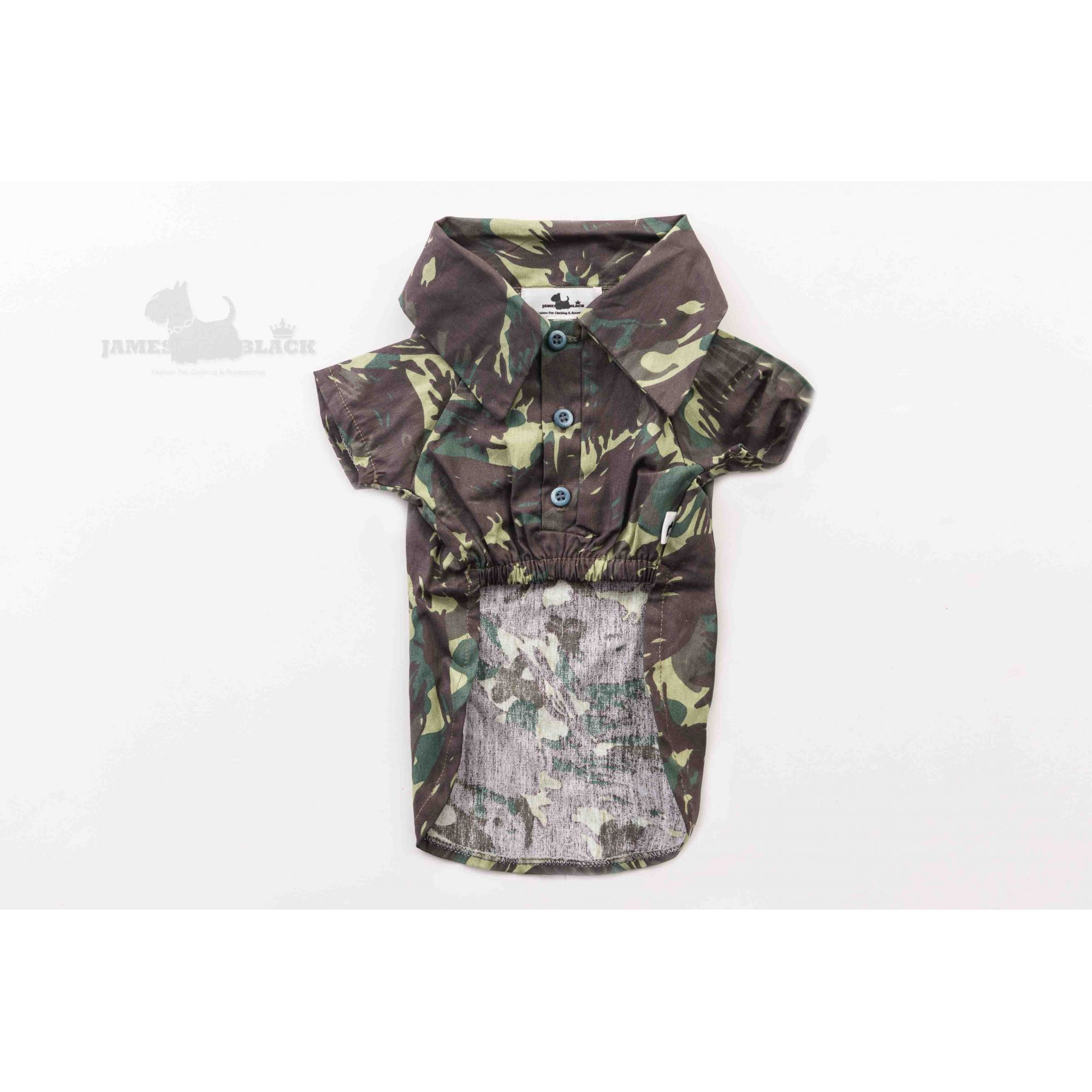 Polo Pet Verde Camuflada com botões degradê