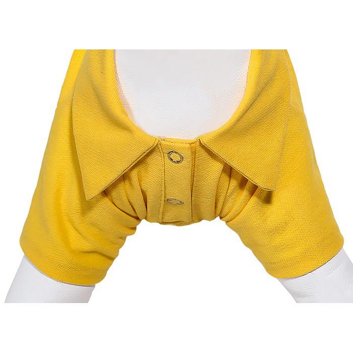 Camiseta polo pet amarela com botões amarelos James Black