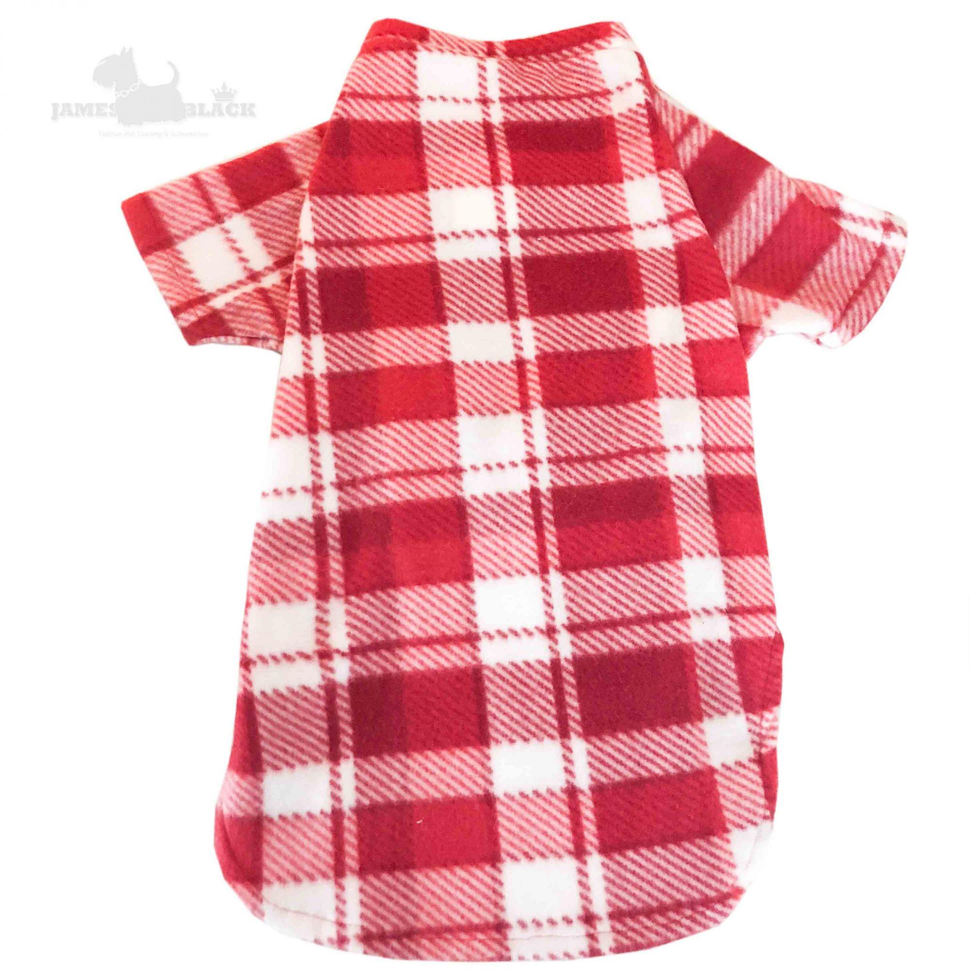 Camiseta soft vermelha xadrez vermelho e branco gola careca G